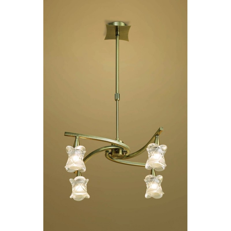 d647b6ac47 LAMPARA COLGANTE DE 4 LUCES LAMPARA 4 L (Ajustable). Acabados: CUER...