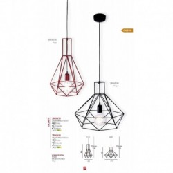 LAMPARA COLGANTE DE COLOR ROJO BOMBILLA  E27 1X23W