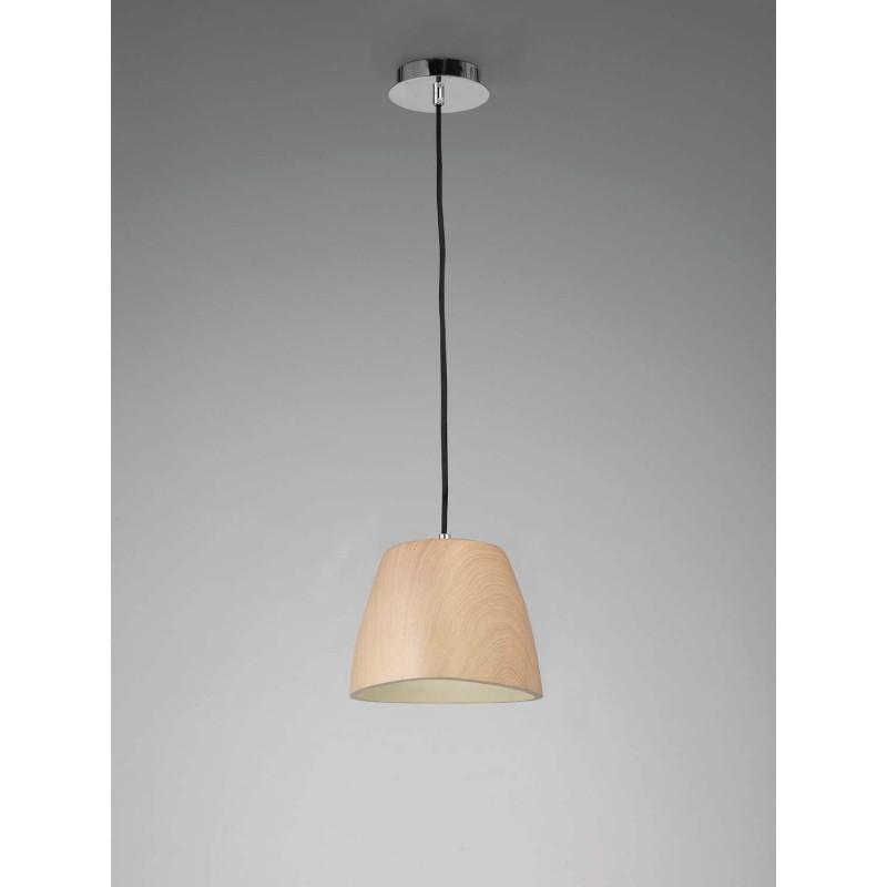 Lampara colgante peque a de madera de 1 luz lampara - Lamparas colgantes de madera ...